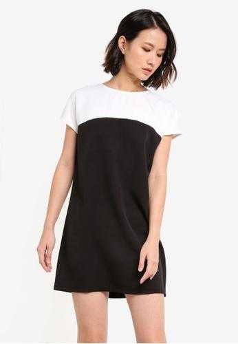 ZALORA BASICS black Essential Short Sleeve Colourblocked Dress 88A44AAD16AE7FGS_1