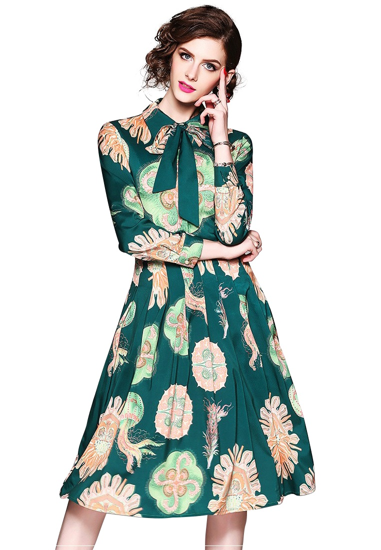 New Sunnydaysweety Piece Retro Green One pattern Dress 2018 Pattern Printed with A042412 FT8xXFqd