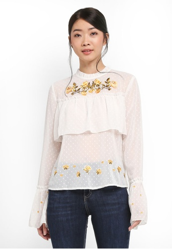 Miss Selfridge beige Ivory Embroidery High Neck Blouse 788C9AA5CE064BGS_1