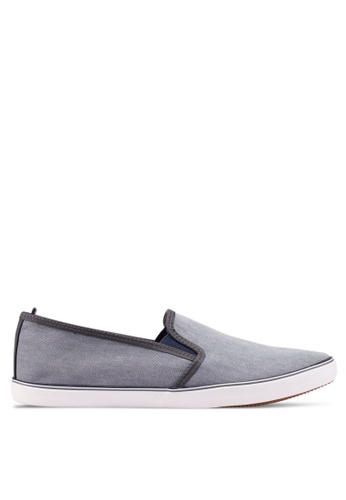 Burton Menswear London grey Grey Chambray Slip On Plimsolls 9D98ASH443DDE5GS_1