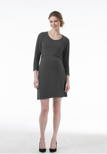 Bove by Spring Maternity grey Knitted Long Sleeved Colby Empire Dress D.Grey 899B4AADBD4BE7GS_1