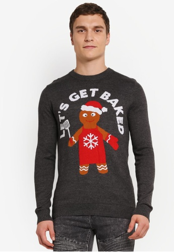 Topman grey Charcoal Grey Christmas 'Get Baked' Jumper TO413AA0SJL7MY_1