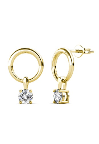 Her Jewellery gold Octavia Earrings (Yellow Gold) - Made with premium grade crystals from Austria 90769AC1C8BA51GS_1