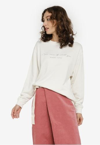 GLOBAL WORK white Knit Sweatshirt C5ECCAAAD90565GS_1