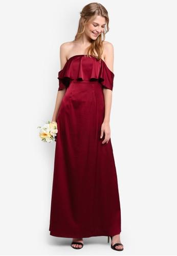 ZALORA red Bridesmaid Satin Off Shoulder Maxi Dress 1A709AAC87B378GS_1