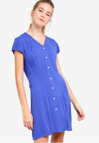 Something Borrowed blue Buttoned Down Fit And Flare Dress 467EDAA8ADAF90GS_1