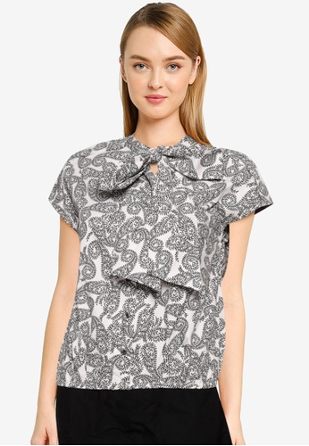 The Duo black Bow Neck Printed Top E2AA7AA4ABAED0GS_1