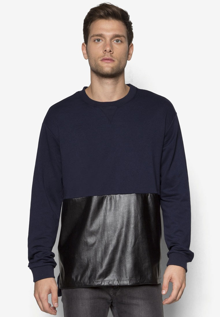 Perforated Pu Paneled Pullover