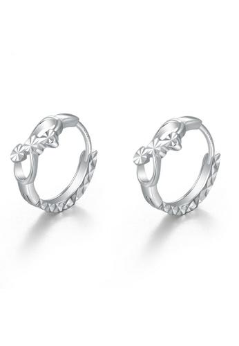 MaBelle silver 14K 585 White Gold Diamond Cut Ribbon Hoop Earrings 2E70BAC4B15081GS_1