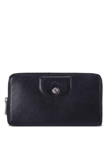 LONGCHAMP black Le Pliage Cuir Zip Around Wallet (zt) 25AD5AC4BD9171GS_1