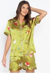 FEMINISM green Shortsleeve Shorts Set A39B5AA797A294GS_1