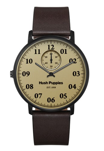 Hush Puppies Est. 1958 Multifunction Men's Watch HP 3854M.2519 Light Brown Black Brown Leather