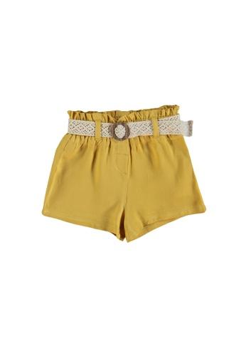 LC Waikiki yellow Baby Girl Viscose Shorts and Belt EE4C4KA1EA31EDGS_1