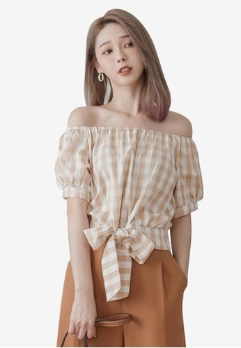 Tokichoi beige Gingham Off-The-Shoulder Top 8E290AAA43354FGS_1