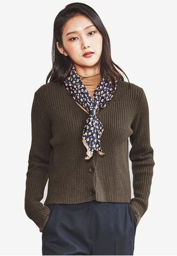 NAIN brown Ribbed Knit Slim Cardigan A7219AABB32582GS_1