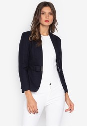 Well Suited black Fitted Buckle Waist Woolen Blazer C56ECAA6EE724FGS_1