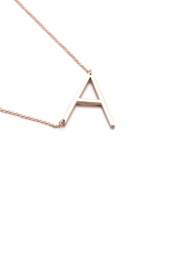 Glamorousky silver Fashion Simple Plated Rose Gold English Alphabet A 316L Stainless Steel Pendant with Necklace 966ADAC32C95D5GS_1