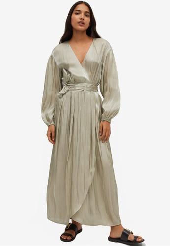 Mango beige Pleated Wrap Dress 1DAAFAAE2930B0GS_1