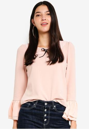 Yoco pink Ruffle Sleeve Blouse 9BA27AA29798FAGS_1