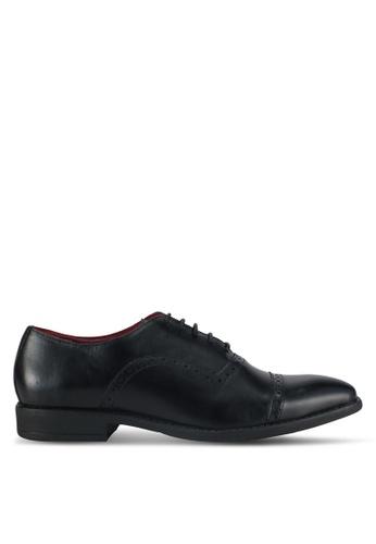 ACUTO black Leather Derby Shoes AC283SH0SL63MY_1