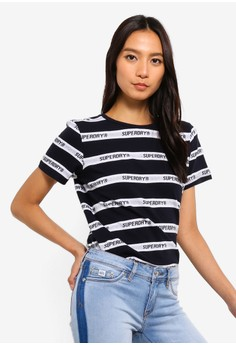 Cote Stripe Text Tee