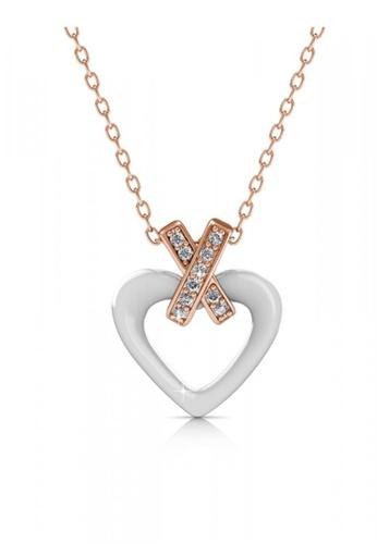 Her Jewellery white Swarovski® Crystals - Heart Ceramic Pendant (White) (18K Rose Gold Plated) Her Jewellery HE581AC0RDQ0MY_1