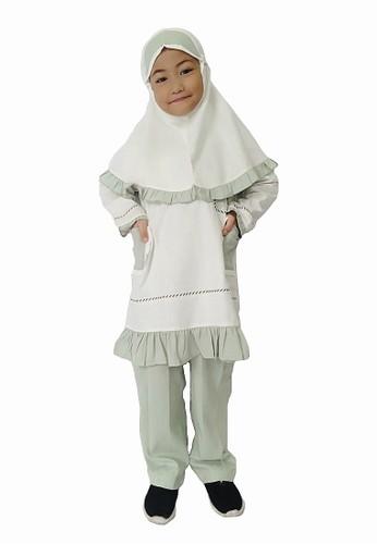Arafah white and green Setelan Anak Muslim Jamilah 2066FKA2E5D013GS_1