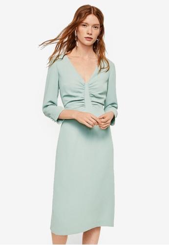 Mango green Ruched Detail Dress E7CA5AA013F62AGS_1