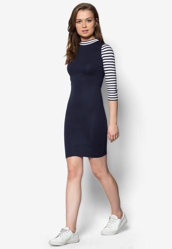 條紋拼接七分袖zalora 泳衣連身裙, 服飾, 緊身洋裝