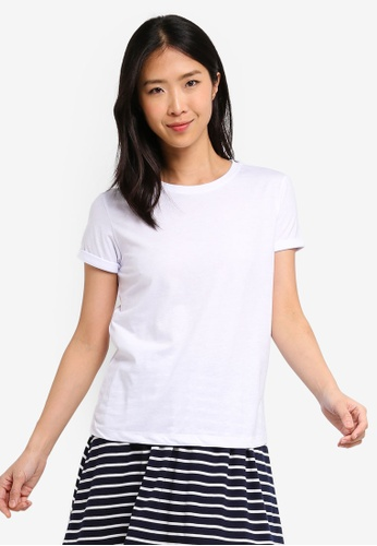 ZALORA BASICS white Basic Rolled Sleeves Crew Neck T-Shirt 3C422AA77DC66DGS_1