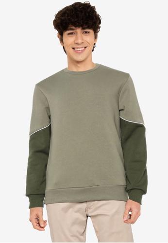 JACK & JONES green Horizon Crew Neck Sweatshirt 976A3AAEBA59FBGS_1
