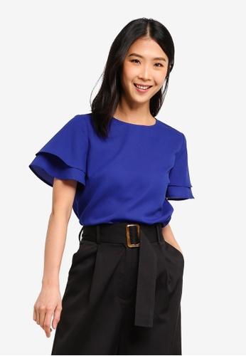 ZALORA BASICS blue Basic Layered Sleeves Top 594EAAA9136FC8GS_1
