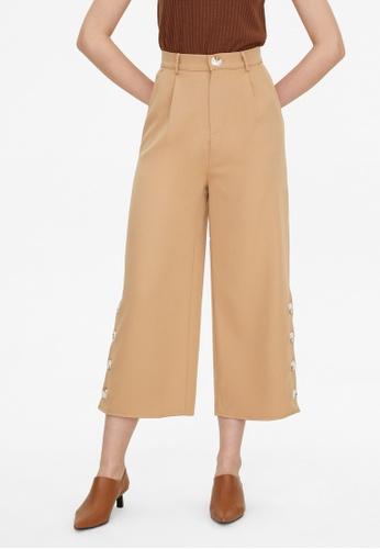 Pomelo brown Button Accent Wide Leg Pants - Brown 287A9AA254D91DGS_1