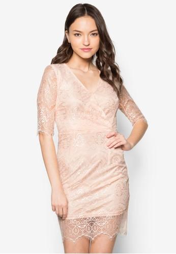 五分袖蕾絲貼身連身裙, 服zalora 手錶飾, 洋裝