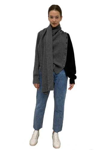 22 Factor grey Alaska Draped Scarf Yak Cashmere-blend Sweater BC11CAA3AE6069GS_1