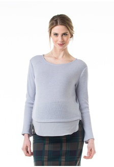 2cac14062d9273 Knitted Long Sleeved Cody Side Zipper Top Grey DE957AAB73B37BGS 1 Bove by Spring  Maternity ...