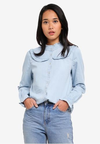ESPRIT blue Woven Long Sleeve Blouse 4B3D2AA3BD54F3GS_1
