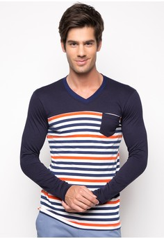 Huker Long Sleeve V Neck Shirt with Combination Details