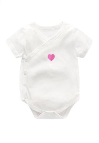 Kiddies Crew white I Heart You Boys Girls Baby Kids Short Sleeve Romper Onesie Overalls Bodysuit (White) 2202BKA0C803C7GS_1