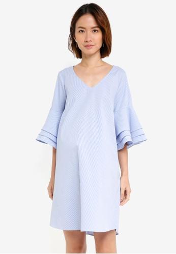 Pietro Brunelli Milano blue Lavanda Frill Sleeve Maternity Dress 4A63FAAAE593F1GS_1
