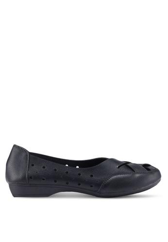 Louis Cuppers 黑色 編織雕花平底鞋 1F8FBSH202654DGS_1