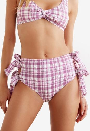 Trendyol purple Textured Tie Detail High Waist Bikini Bottom 18FA9US4042FBFGS_1