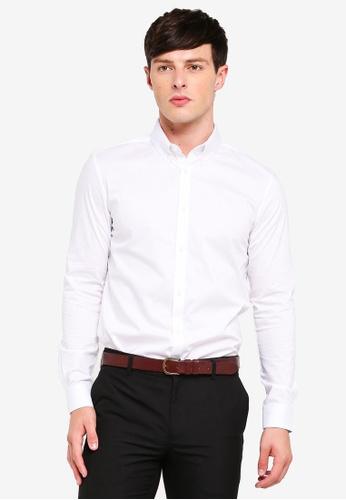 Burton Menswear London 白色 緊身襯衫 D3997AA32264A0GS_1