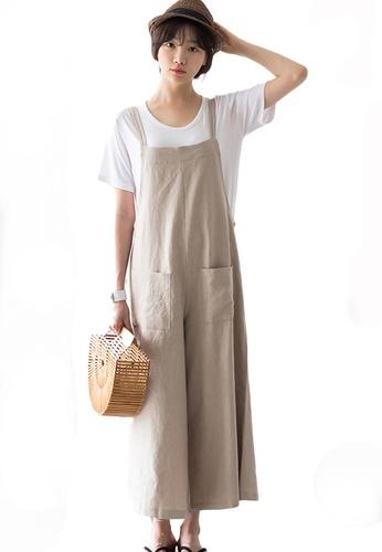 Sunnydaysweety beige Cotton Linen Wide-Leg Jumpsuit A21031914KI E2B61AA7ECEE34GS_1