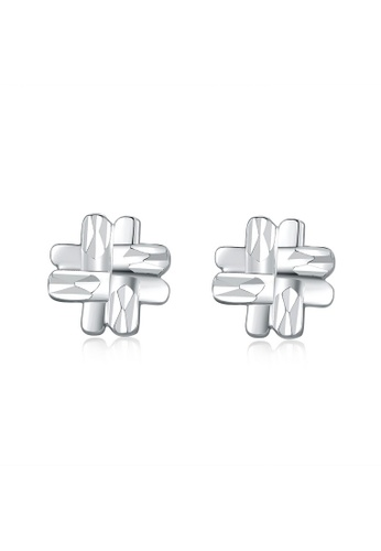 MaBelle silver 14K 585 White Gold Diamond Cut Hashtag Sign Stud Earrings 09974AC8B214C4GS_1