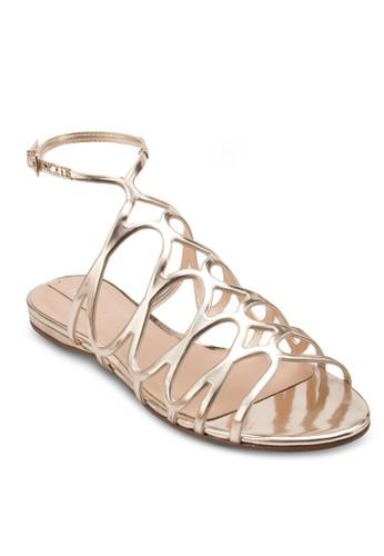 Signoressa esprit 中文亮面繞踝羅馬涼鞋, 女鞋, 鞋