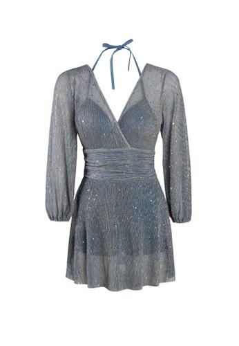 Its Me blue Retro Gauze Stitching One-Piece Swimsuit 87162US55C1461GS_1