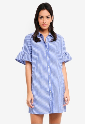 ZALORA blue Ruffles Sleeves Shirt Dress 94CFAAAC1CA715GS_1