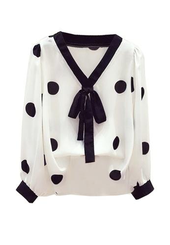 Twenty Eight Shoes white VANSA Polka Dots Long Sleeves Blouse  VCW-Bs6506 E6963AA50E3935GS_1