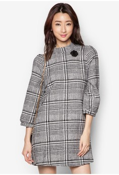 Plaid Wool Dress With Flower Brooch